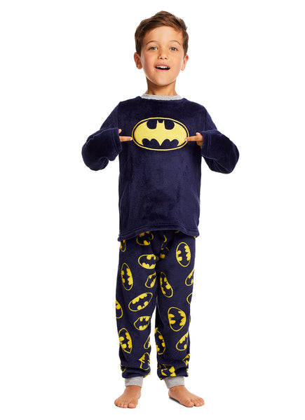 Batman Boys PJs Dark Blue Fleece 2-Piece Pajama Set