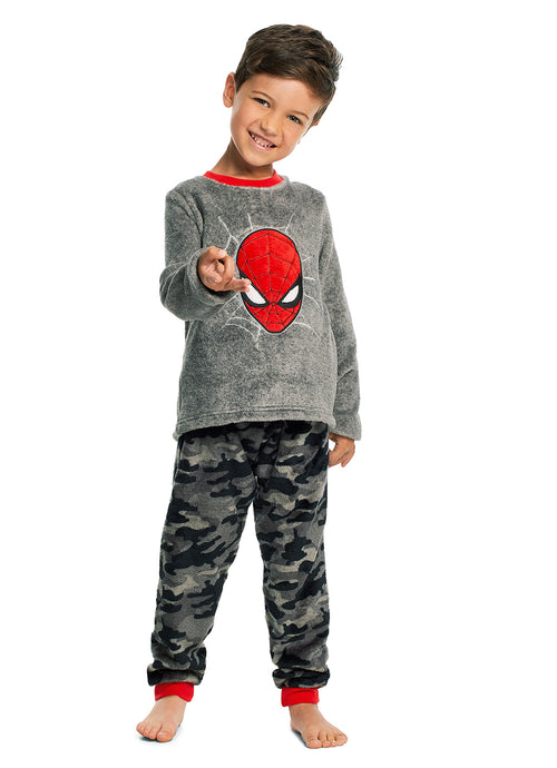 Spider-Man Boys Grey & Red Fleece 2-Piece Pajama Set
