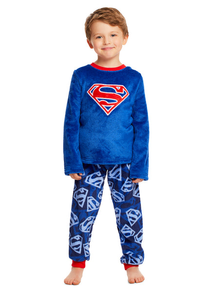 Superman Boys PJs Blue Fleece 2-Piece Pajama Set
