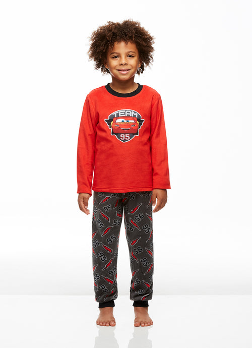 Cars 3 Boys 2-Piece Fleece Pajama Set, Long-Sleeve Top and Jogger Pants, by Jellifish Kids