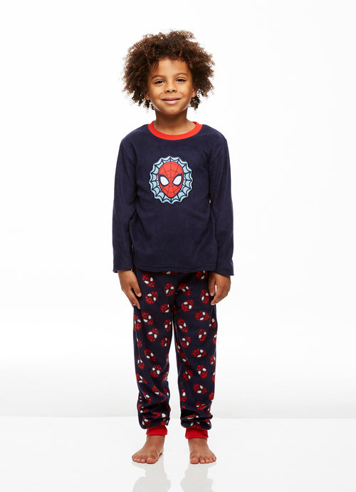 Spider-Man Boys 2-Piece Fleece Pajama Set, Long-Sleeve Top and Jogger Pants, by Jellifish Kids