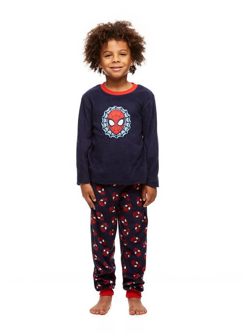Spider-Man Boys Navy Blue Fleece 2-Piece Pajama Set