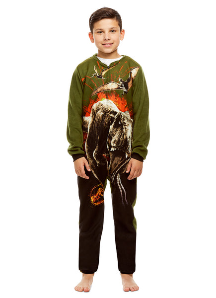 Jurassic World T-Rex Boys Onesie Zippered Pajamas