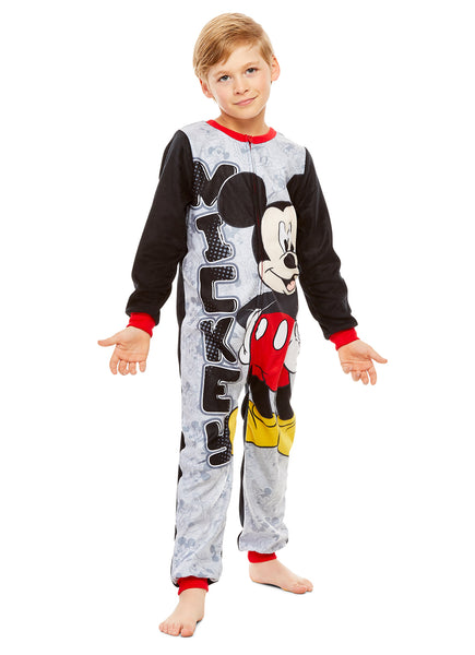 Disney Mickey Mouse Boys Character Blanket Sleeper | Zippered Onesie Pajama