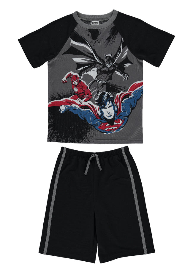 Justice League   Boys 2-Piece Cotton PJ | Short-Sleeve Top & Shorts