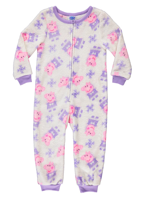 Peppa Pig Girls Sleeper Onesie | Fleece Pajamas for Toddlers