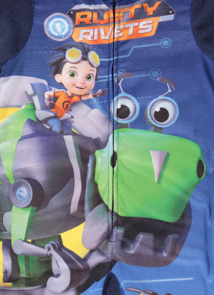 Rusty Rivets Toddlers Character Blanket Sleeper | Zippered Onesie Pajama