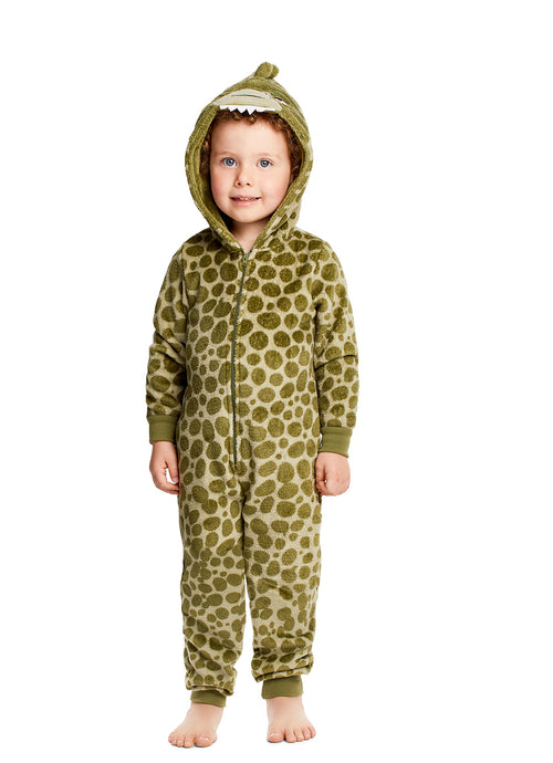 Plush Zippered Kids Onesie With 3D Dino Hood