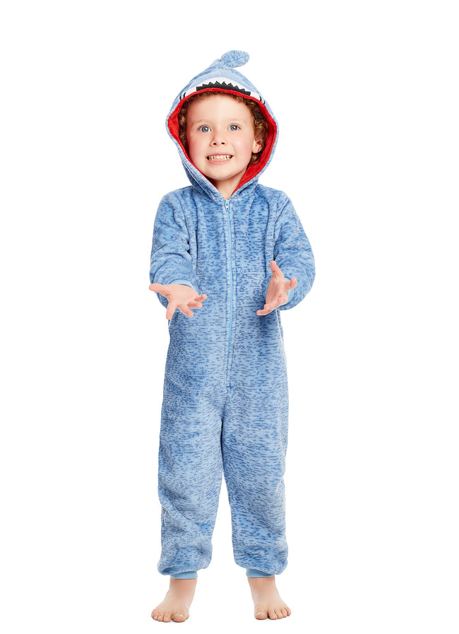 Plush Zippered Kids Onesie With 3D Shark Hood