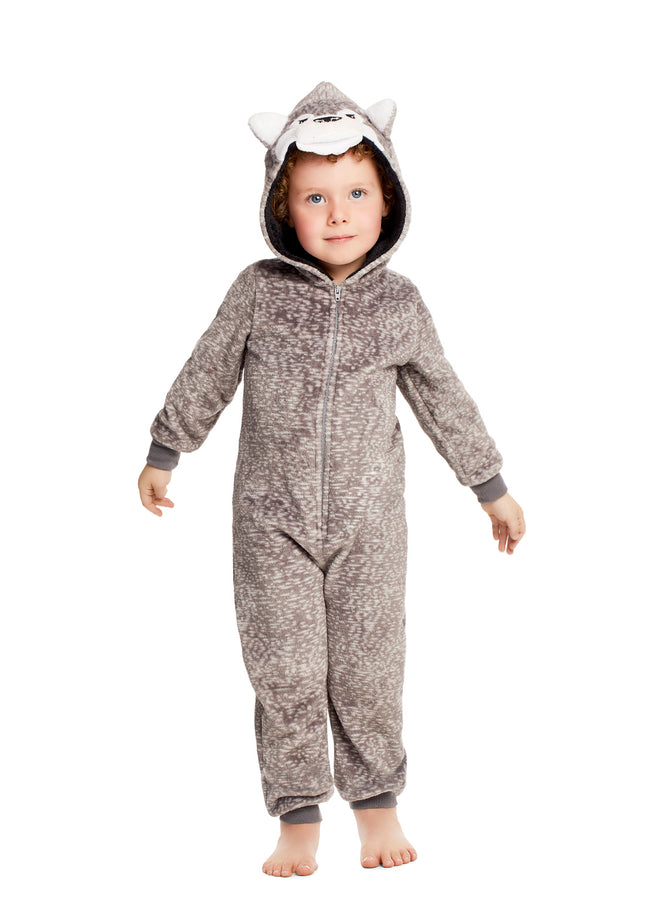 Plush Zippered Kids Onesie With 3D Wolf Hood