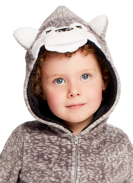 Boys & Toddlers Pajamas | Plush Zippered Kids Onesie With 3D Wolf Hood