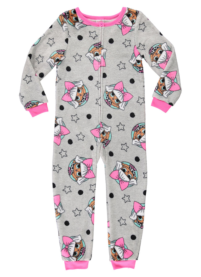 LOL Surprise Girls Onesie Grey & Pink Fleece Pajamas