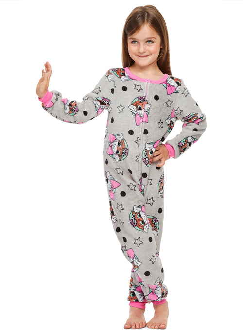 Girls Onesie Grey & Pink Fleece Pajamas (LOL Surprise)