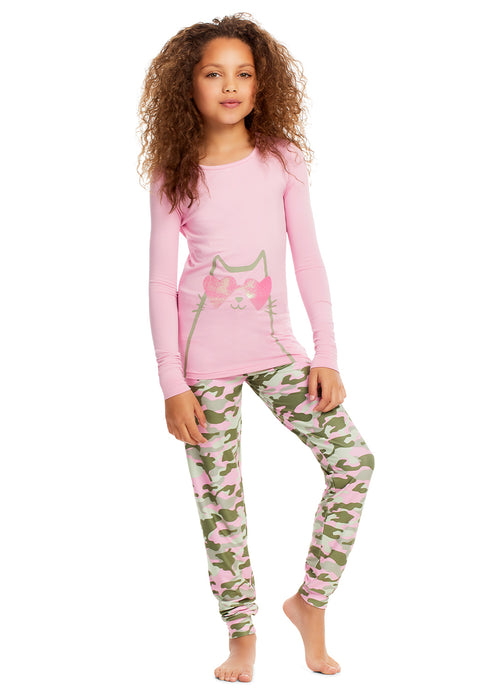 Girls 3-Piece Pajamas Sleep Pant & Shorts Set | Cat Long Sleeve Top