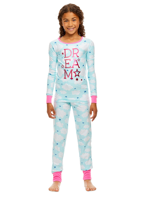 Girls Lush 2 Piece Pajama Set | Long Sleeve Foil Print Top & PJ Pants - XS