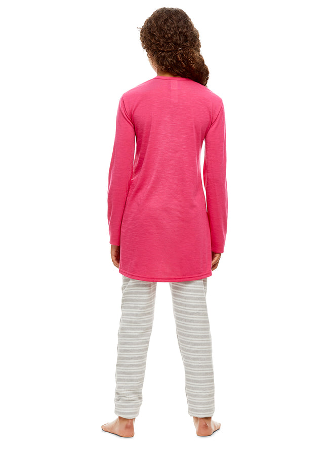 Girls 2 Piece Pajama Set | Long Sleeve Shine Print Top & Velour PJ Pants
