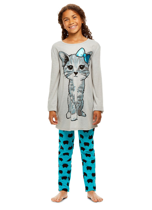 Girls 2 Piece Pajama Set | Long Sleeve Cat Print Top & Velour PJ Pants