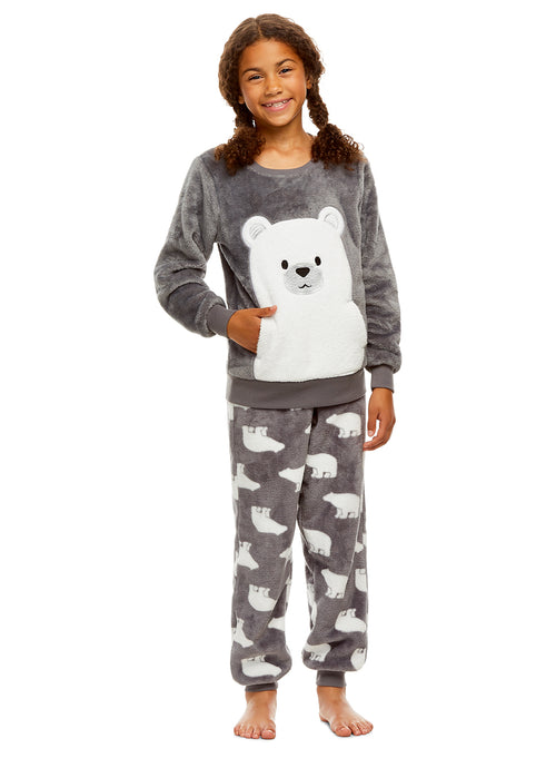 Girls 2 Piece Plush Bear Pajama Set | Long Sleeve Fleece Top & PJ Pants