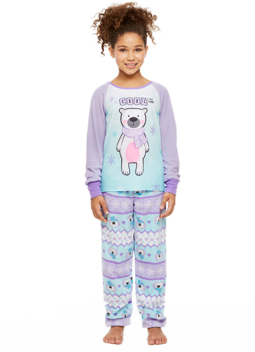 Girls 2-Piece Pajama Set, Thermal Long-Sleeve Top and Fleece Jogger Pants, Lavender Bear, by Jellifish Kids