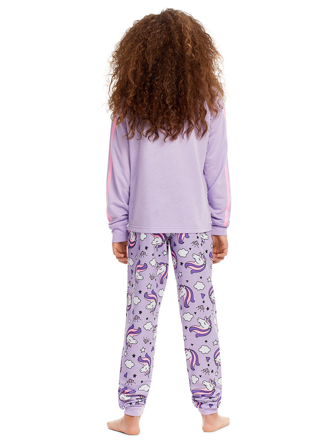 Girls 2 Piece Pajama Set | Long Sleeve Crown Print Tee & Jogger PJ Pants
