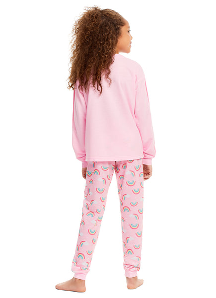 Girls 2 Piece Pajama Set | Long Sleeve Dreams Print Tee & Jogger PJ Pants