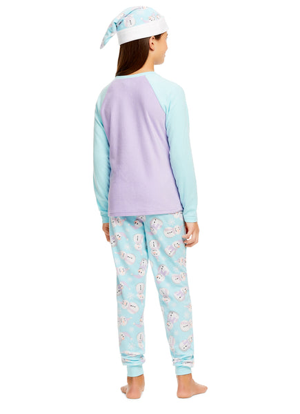 Girls Holiday Snowman 2 Piece Pajama & Hat Set | Long Sleeve Top & PJ Pants