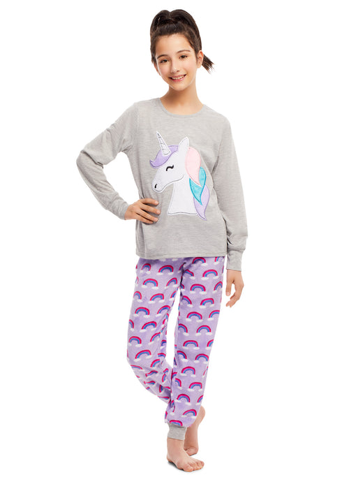 Girls 2 Piece Plush Unicorn Embroidery Pajama Set (Grey & Purple)