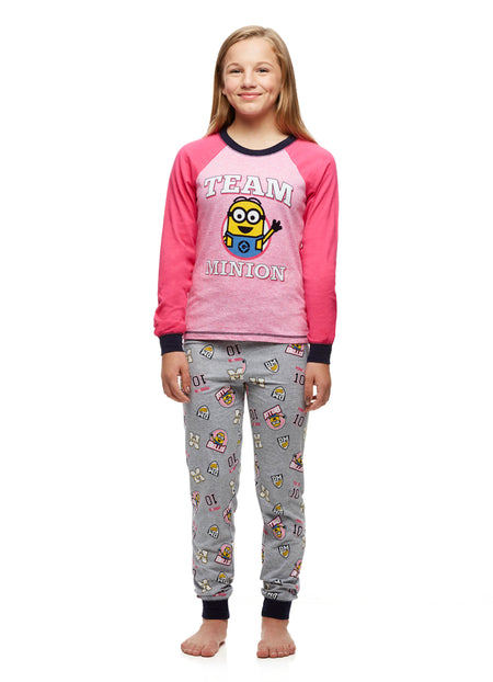 dd30965c9 Big Girls 2-Piece Pajama Set, Long-Sleeved Top and Jogger Pants, Despicable  Me, by Jellifish Kids
