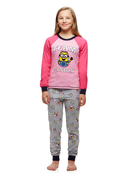 Minion PJs Big Girls Pink Cotton 2-Piece Pajama Set