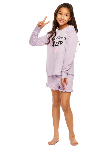 Girls Knit 2-Piece Pajamas | Long-Sleeve & Shorts Set