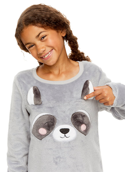 Girls Plush Fleece Nightgown | Long Sleeve Raccoon Sleep Shirt with 3D Ears