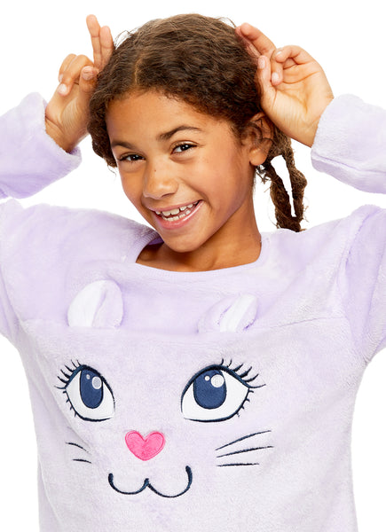 Girls Plush Fleece Nightgown | Long Sleeve Cat Sleep Shirt with 3D Ears - S