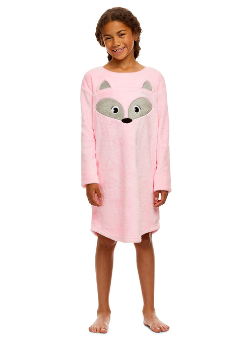 Girls Nightgown & Socks Set | Long Sleeve Pink Fox Print Jersey