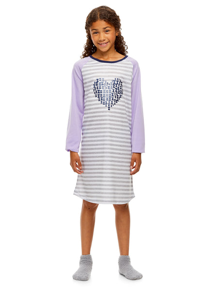 Girls Nightgown & Socks Set | Long Sleeve Shiny Heart Print Jersey (Grey & Purple)