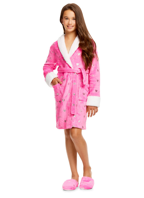 Girls Plush Sleep Robe & Slippers Set | Foil Hearts Fleece Bathrobe -