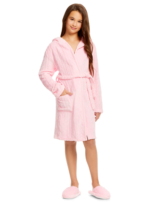 Girls Plush Robe & Slippers Set | Fleece 3D Hood Cable Print Sleep Robe