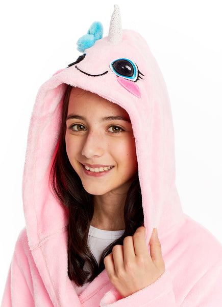 3D Narwhal Face Fleece Bathrobe