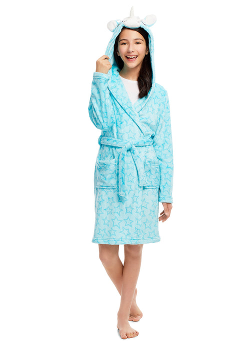 Girls Plush Sleep Robe | 3D Unicorn Face Fleece Bathrobe