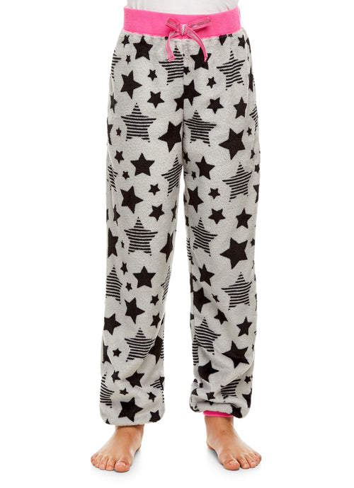 Girls Plush Pajama Bottoms | Fleece Star Print Jogger Sleep Pants