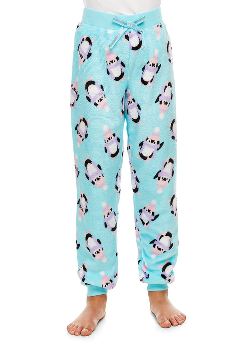 Girls Plush Pajama Bottoms | Fleece Penguin Print Jogger Sleep Pants