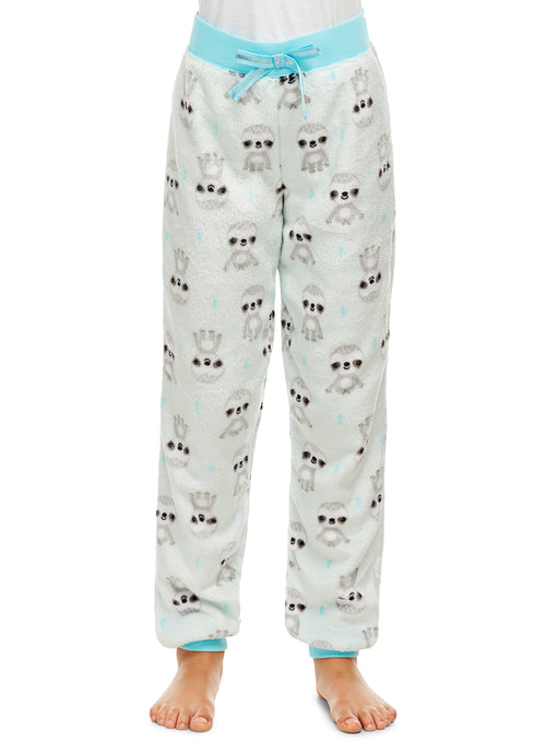 Girls Plush Pajama Bottoms | Fleece Sloth Print Jogger Sleep Pants
