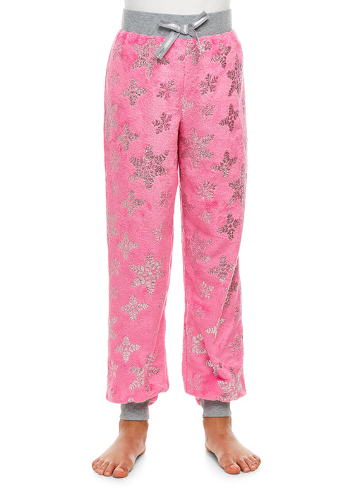 Girls Plush Pajama Bottoms | Fleece Snowflake Print Jogger Sleep Pants