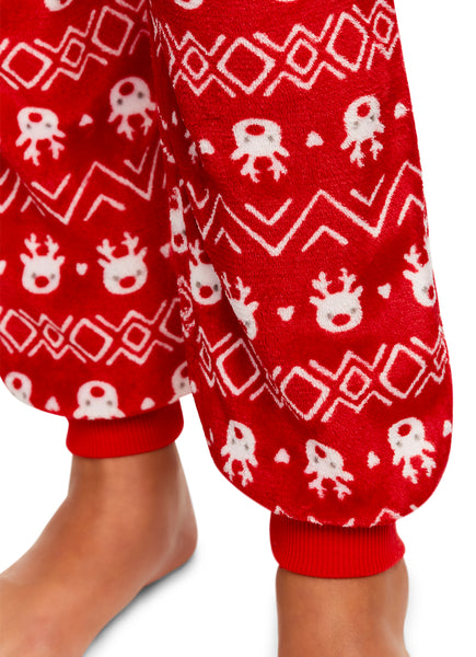 Girls Plush Pajama Bottoms | Fleece Reindeer Print Jogger Sleep Pants