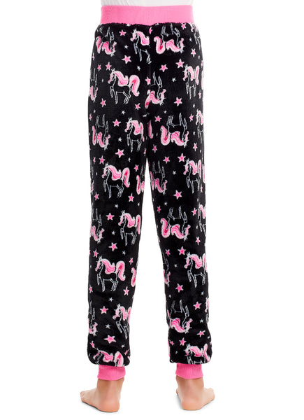 Girls Pajama Bottoms, Cozy Fleece Sleep Pants, Unicorn, by Jellifish Kids