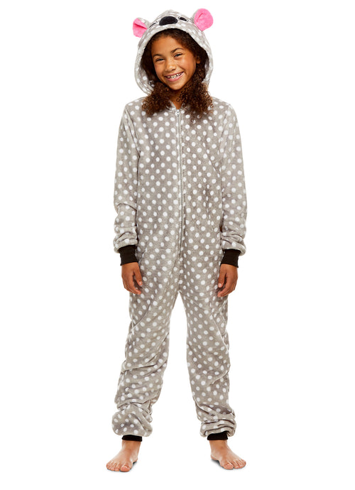 Girls Koala Pajamas | Plush Zippered Kids Animal Onesie Blanket Sleeper