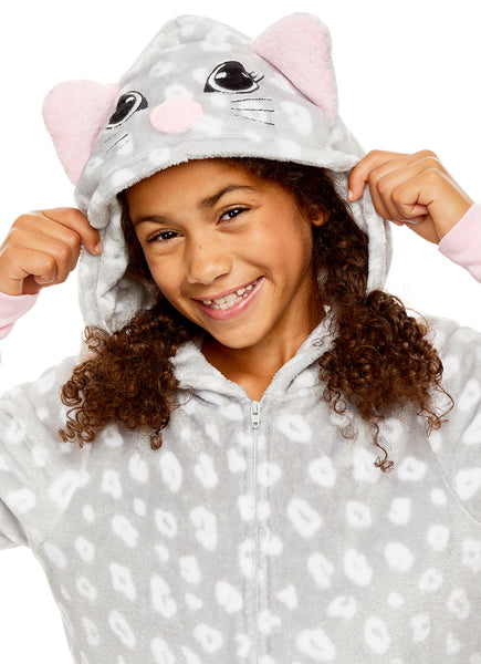 Girls Cat Pajamas | Plush Zippered Kids Animal Onesie Blanket Sleeper