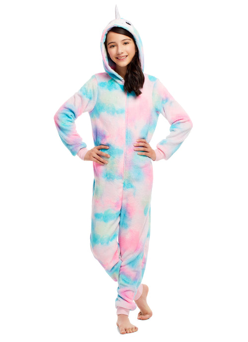 Girls Pajamas | Plush Zippered Narwhal Kids Onesie Blanket Sleeper