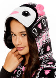 Girls Penguin Pajamas | Plush Zippered Kids Animal Onesie Blanket Sleeper