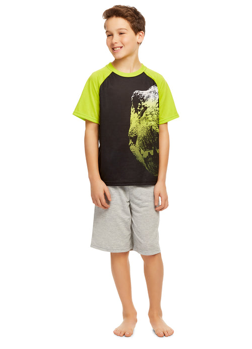 Boys Knit 3-Piece Pajamas Sleep Pant & Shorts Set (T-Rex)