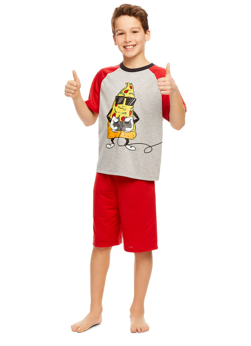 Boys Knit 3-Piece Pajamas Sleep Pant & Shorts Set (Pizza)